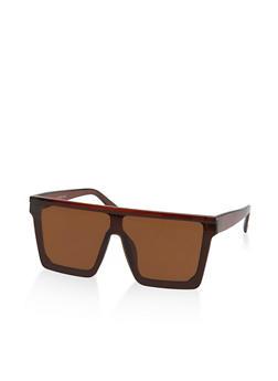Flat Top Shield Sunglasses - 1133071212027
