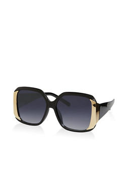 Metallic Side Square Sunglasses - 1133071215550