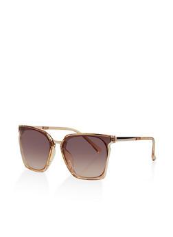 Geometric Metallic Detail Sunglasses - 1133071222849