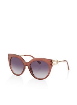 Metallic Detail Cat Eye Sunglasses - 1133073213000