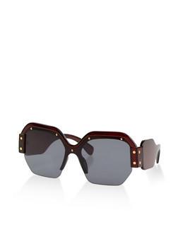 Studded Half Frame Square Sunglasses - 1133073219966