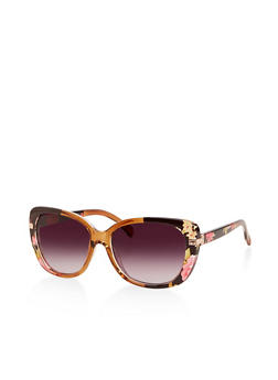 Metallic Arm Cut Out Sunglasses - 1134004260244