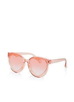 Plastic Heart Lens Sunglasses - 1134004260553