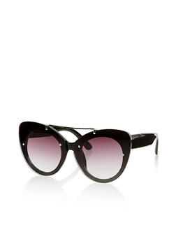 Large Metallic Top Bar Cat Eye Sunglasses - 1134004265507