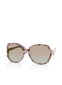 Mirrored Open Side Marbled Sunglasses - 1134004269601