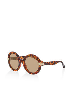 Mirrored Round Frame Sunglasses - 1134056175433