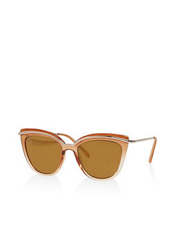 Metallic Trim Cat Eye Sunglasses - 1134056176507