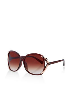 Metallic Flower Detail Oversized Sunglasses - 1134071210035