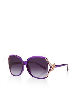 Metallic Bow Arm Detail Sunglasses - 1134071212340
