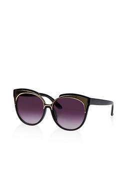 Metallic Detail Cat Eye Sunglasses - 1134071213248
