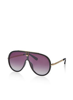 Metallic Trim Plastic Shield Sunglasses - 1134071215510