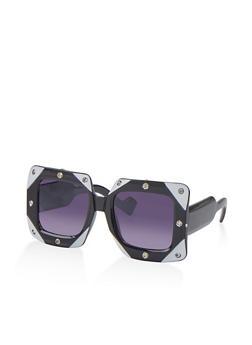 Large Color Block Square Sunglasses - 1134071216780