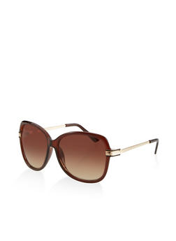 Metallic Arm Plastic Sunglasses - 1134071217788