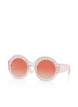 Rhinestone Round Plastic Sunglasses - 1134071219973