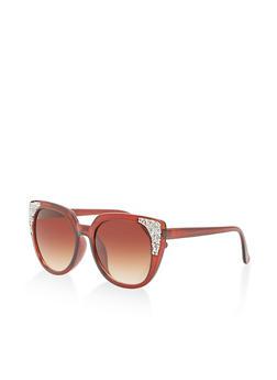 Rhinestone Encrusted Cat Eye Sunglasses - 1134071222717