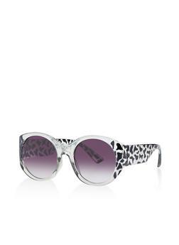 Two Tone Round Plastic Sunglasses - 1134071222853