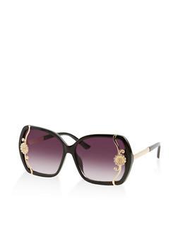 Metallic Flower Detail Square Sunglasses - 1134073210000