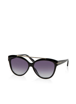 Metallic Top Bar Plastic Sunglasses - 1134073212700