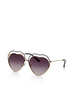 Double Heart Frame Sunglasses - 1134073212871