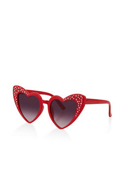 Rhinestone Heart Frame Sunglasses - 1134073213300