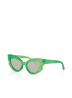 Plastic Mirrored Cat Eye Sunglasses - 1134073214400