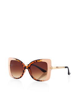 Two Tone Plastic Square Sunglasses - 1134073216970