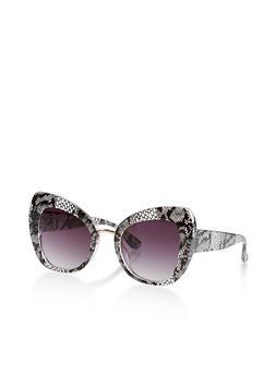 Lace Print Cat Eye Sunglasses - 1134073217779