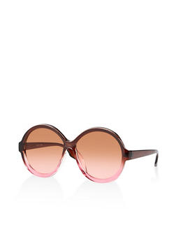 Round Plastic Two Tone Sunglasses - 1134073924682