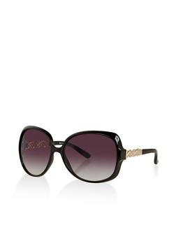 Metallic Arm Detail Plastic Sunglasses - 1134073925503