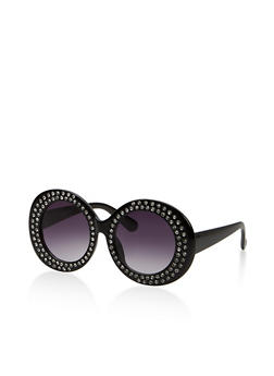 Double Rhinestone Trim Round Sunglasses - 1134073926324