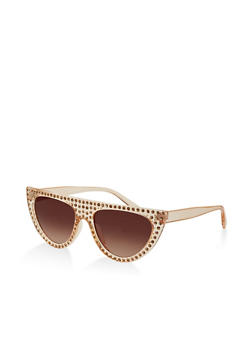 Flat Top Rhinestone Cat Eye Sunglasses - 1134073928213