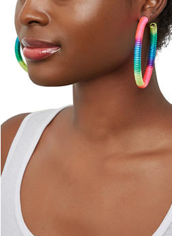 Multi Color Thread Wrapped Open Hoop Earrings - 1135003200827