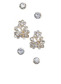 Set of 3 Flower and Rhinestone Stud Earrings - 1135003201201