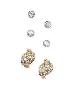Rhinestone Leaf and Stud Earrings - 1135003201203
