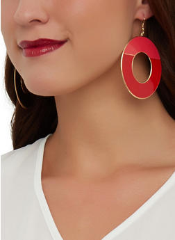 Two Tone Disc Earrings - 1135003201204