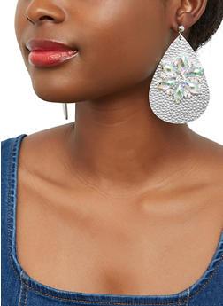 Rhinestone Faux Leather Teardrop Earrings - 1135003207881