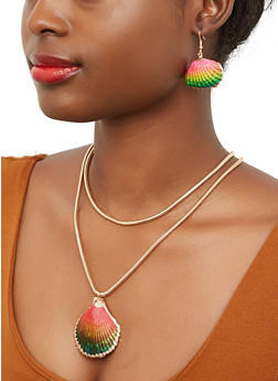 Shell Necklace and Earrings - 1135003208238