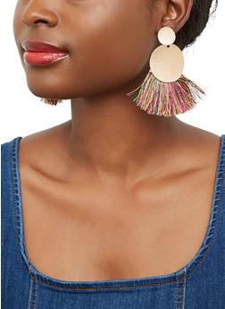Fringe Disc Drop Earrings - 1135003209471