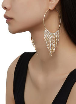 Rhinestone Fringe Hoop Earrings - 1135029360093