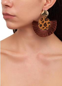 Leopard Fringe Disc Earrings - 1135029361119