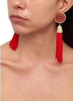 Tassel Disc Drop Earrings - 1135029361410