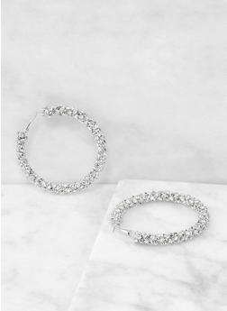 Rhinestone Encrusted Hoop Earrings - 1135029362125