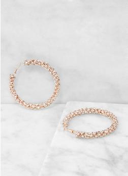 Rhinestone Encrusted Hoop Earrings - 1135029362125