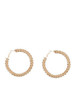 Rhinestone Encrusted Hoop Earrings - 1135029362154