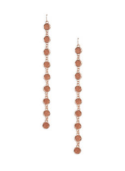 Glitter Circle Chain Drop Earrings - 1135029363018