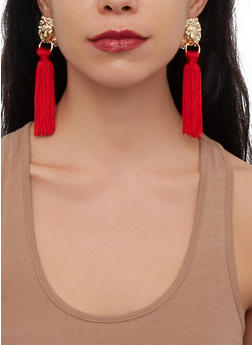 Lion Tassel Drop Earrings - 1135029363041