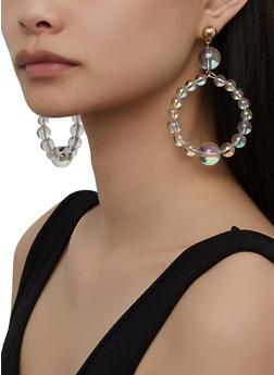 Clear Beaded Drop Hoop Earrings - 1135029363118