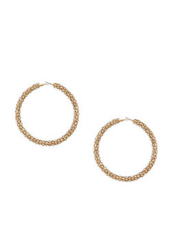 Large Rhinestone Encrusted Hoop Earrings - 1135029367003