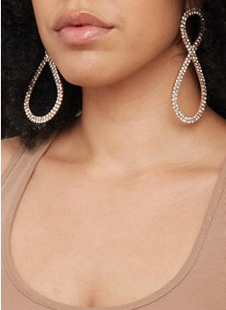 Rhinestone Infinity Earrings - 1135029367062
