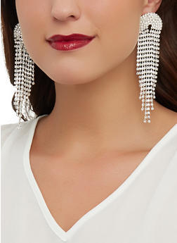 Rhinestone Studded Drop Earrings - 1135029367071
